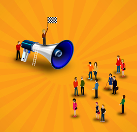 Promotion and marketing concept - Little people in front of a loudspeaker